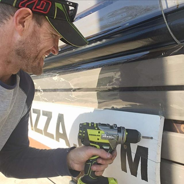 Every mans #dream , a new tool #ryobi (replacing stolen ones) this drill has blue lights!! #impressed . Now new clear blinds at #theviewpizza, replacing those ripped from three years of #winter #winds