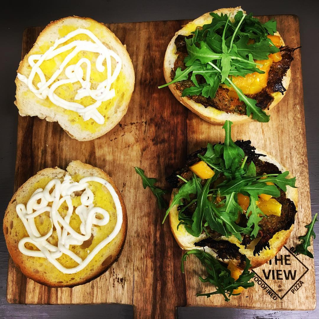 A few leftover ingredients from the weekend #nowaste veggie patties #mango rocket and #aioli hamburgers #theviewpizza #yummy #tasty #foodie