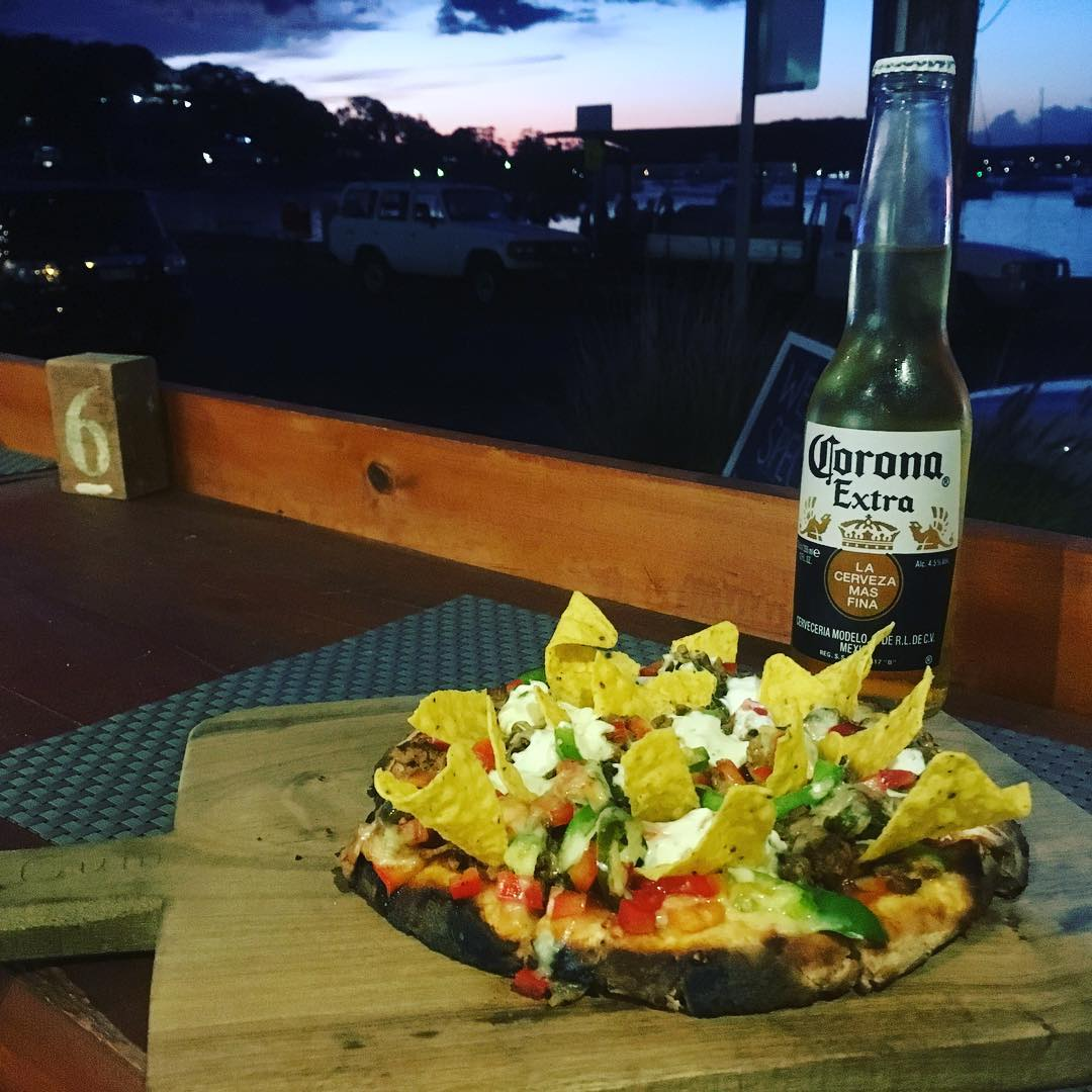 Mexican pizza #theviewpizzaspecial  #jalepenos #cornchips  Complete with #corona