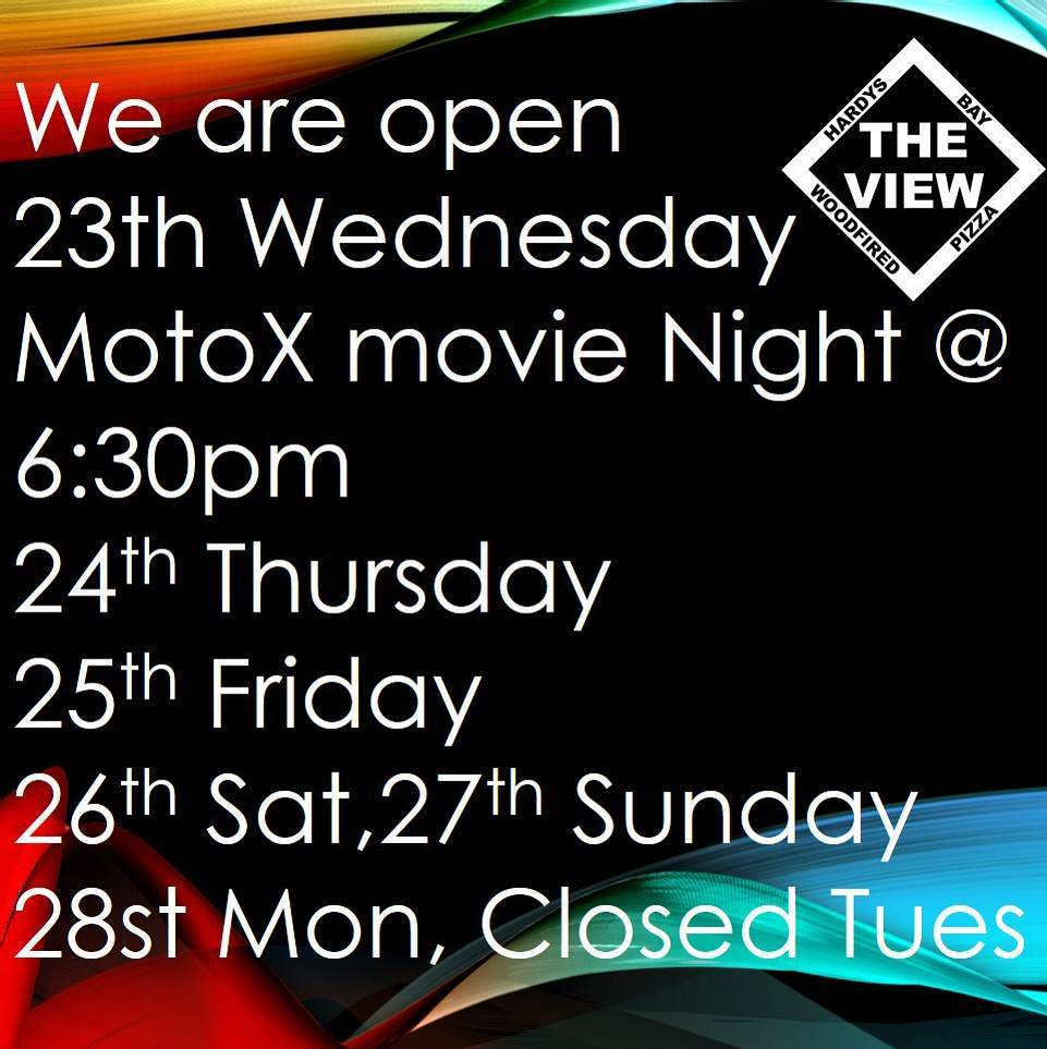 Yes still open Wednesday Thursday, Friday etc.  Come join us for a motorcycle movie every Wednesday This week its On any Sunday the next chapter #theviewpizza #motorcyclist #motorbike #motorcycles #thisisthelife