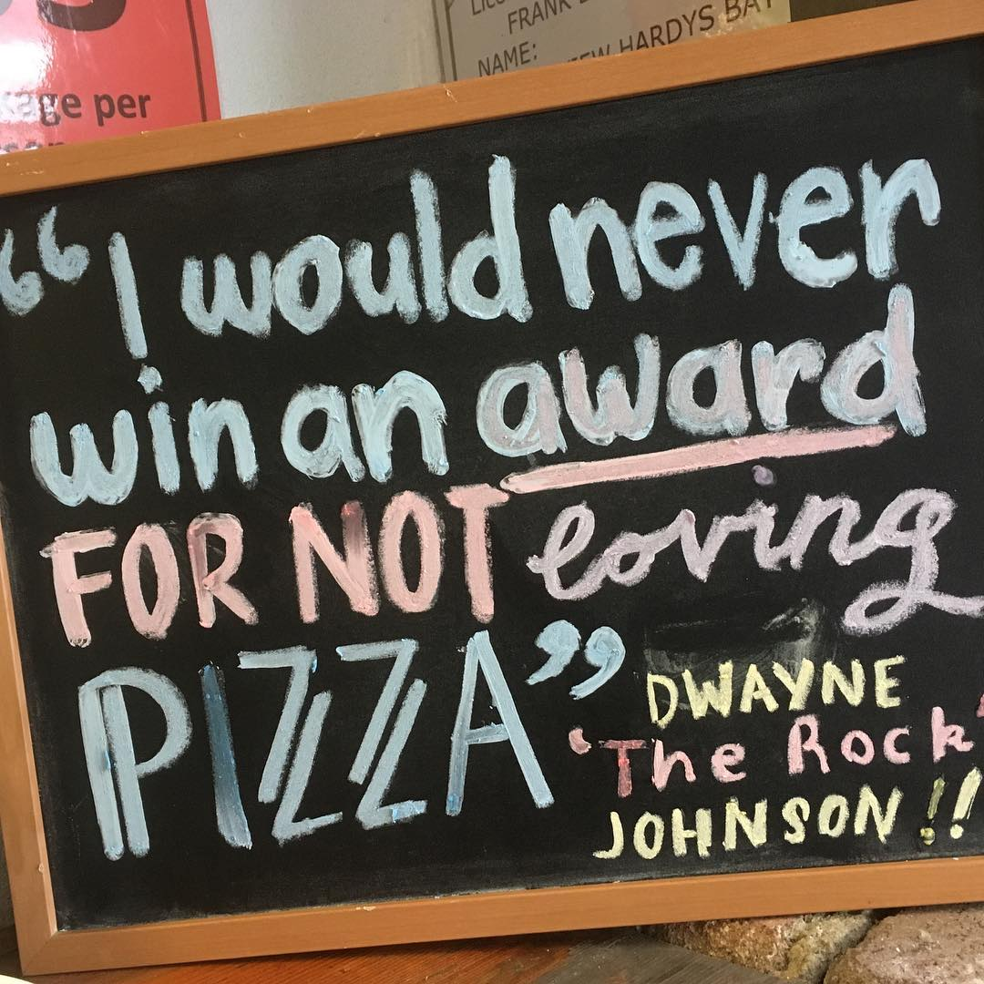Great sign by one of our staff. #Theviewpizza #therock